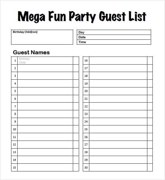 party guest list image 3