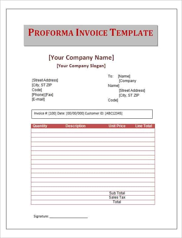 Proforma Invoice Templates Word Excel PDF Formats - What is a proforma invoice