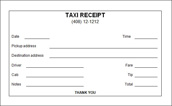 7 Taxi Receipt Templates Word Excel Pdf Formats