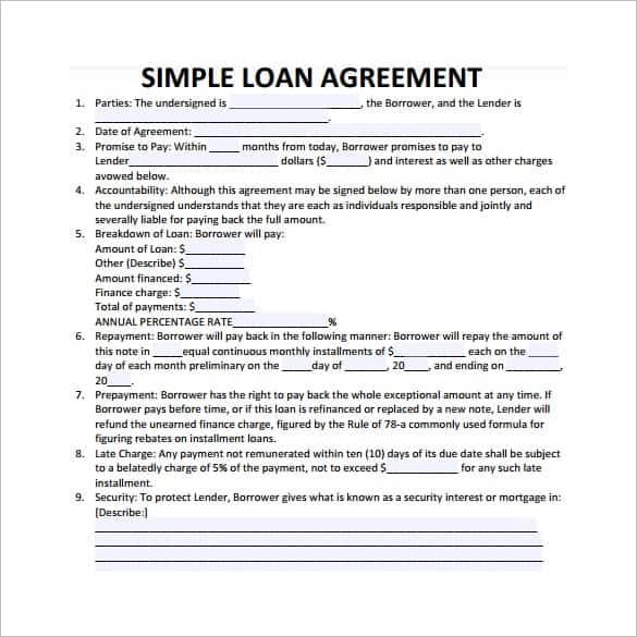 loan agreement template 9