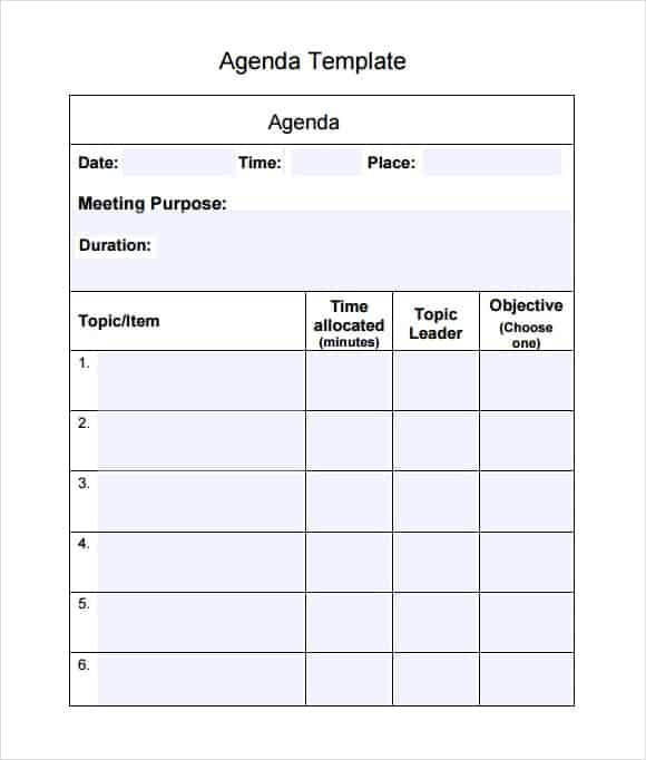 meeting agenda template 12