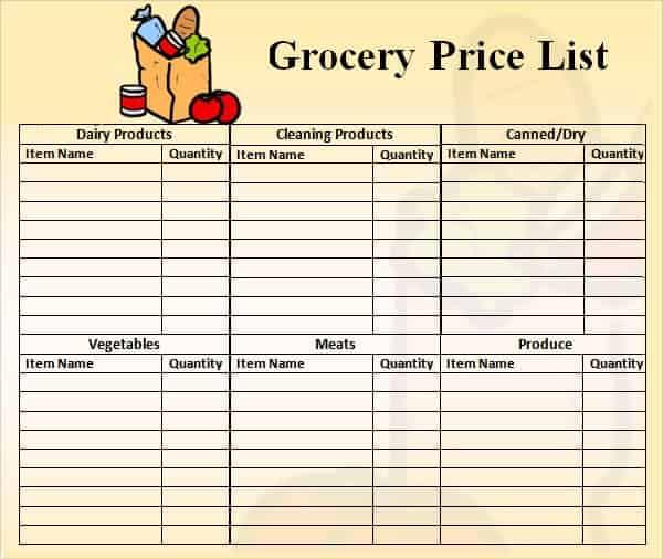 price list template 1
