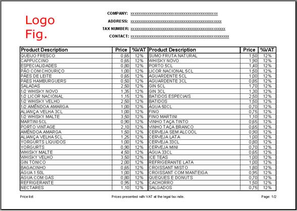 price list template 11