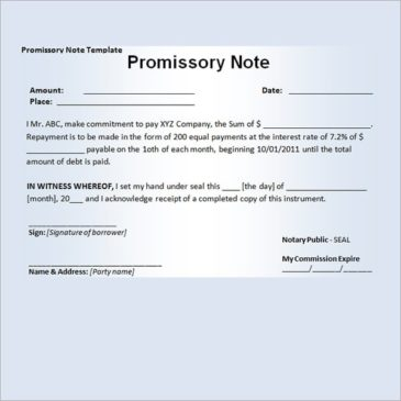 11+ Promissory Note Templates