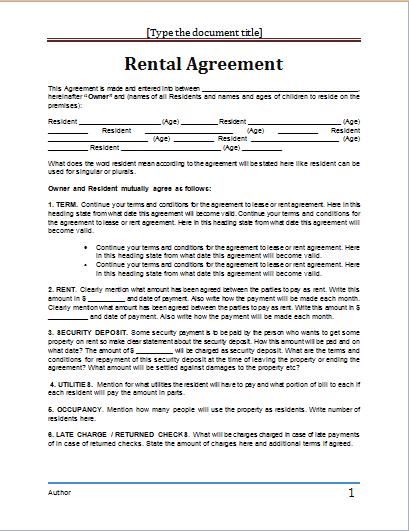 rental agreement template 8