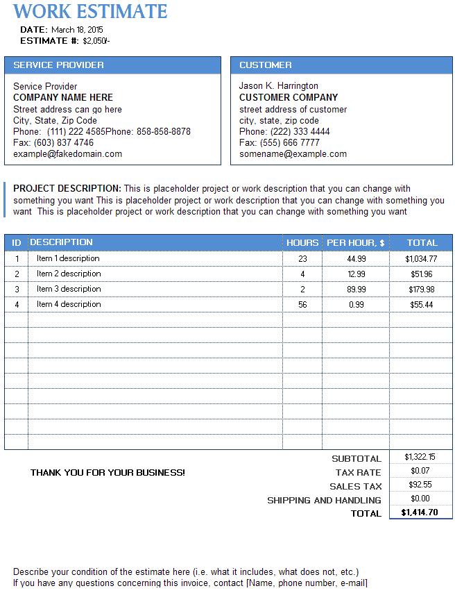 9 work estimate templates word excel pdf formats